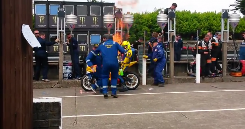 BHP BIKES LATEST STORIES Rider And Mechanic Burst Into Flames At The Isle of Man TT Race